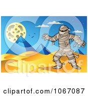Clipart Mummy And Pyramids In The Desert Royalty Free Vector Illustration by visekart