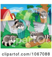 Clipart Mischievous Raccoons 1 Royalty Free Vector Illustration by visekart