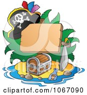 Clipart Blank Sign On A Treasure Island 1 Royalty Free Vector Illustration