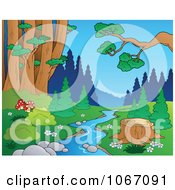Clipart Tree Stump By A Creek In The Woods 1 Royalty Free Vector Illustration by visekart