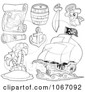 Clipart Outlined Pirate Items Royalty Free Vector Illustration