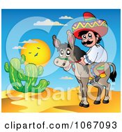 Clipart Mexican Man On A Donkey 2 Royalty Free Vector Illustration