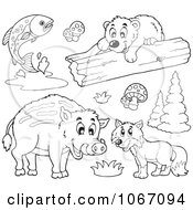 Clipart Outlined Forest Animals 1 Royalty Free Vector Illustration by visekart