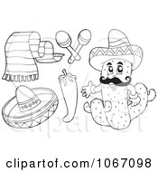 Clipart Outlined Mexican Items 2 Royalty Free Vector Illustration by visekart