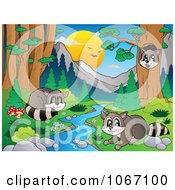 Clipart Raccoons Playing By A Stream 1 Royalty Free Vector Illustration by visekart