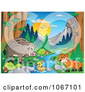 Clipart Wild Animals By A Forest Stream 3 Royalty Free Vector Illustration by visekart