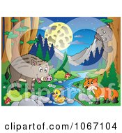 Clipart Wild Animals By A Forest Stream 4 Royalty Free Vector Illustration by visekart