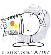 Clipart Puzzled Moodie Character Holding A Calendar Royalty Free Vector Illustration