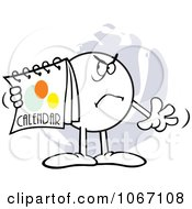 Clipart Angry Moodie Character Holding A Calendar Royalty Free Vector Illustration