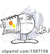 Clipart Upset Moodie Character Holding A Calendar Royalty Free Vector Illustration