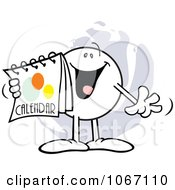 Clipart Happy Moodie Character Holding A Calendar Royalty Free Vector Illustration