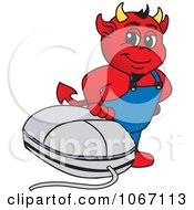 Devil Mascot With A Computer Mouse