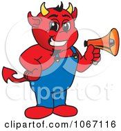 Clipart Devil Mascot Holding A Megaphone Royalty Free Vector Illustration