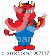 Devil Mascot Holding A Pencil