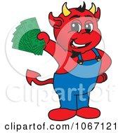 Devil Mascot Holding Cash