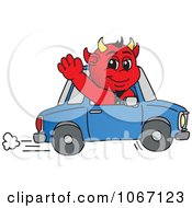 Devil Mascot Waving And Driving
