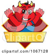 Clipart Devil Mascot On A Red Diamond Sign Royalty Free Vector Illustration by Toons4Biz