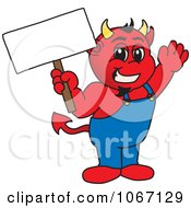 Devil Mascot Holding A Blank Sign