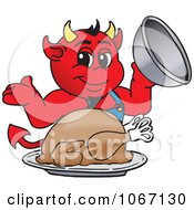 Clipart Devil Mascot Serving Thanksgiving Turkey Royalty Free Vector Illustration by Toons4Biz