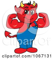 Clipart Devil Mascot Flexing Royalty Free Vector Illustration by Toons4Biz