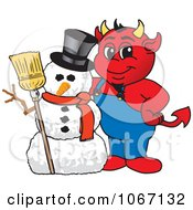 Devil Mascot With A Christmas Snowman by Toons4Biz