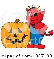 Devil Mascot And Halloween Pumpkin