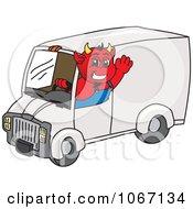 Devil Mascot Driving A Delivery Van