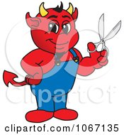 Devil Mascot Holding Scissors