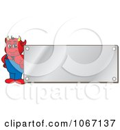 Clipart Devil Mascot By A Silver Plaque Royalty Free Vector Illustration by Toons4Biz