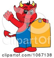 Devil Mascot With A Sales Tag