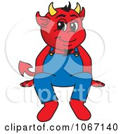 Devil Mascot Sitting On A Ledge by Toons4Biz