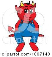Devil Mascot Sitting On A Ledge