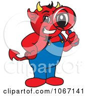 Clipart Devil Mascot Inspecting Royalty Free Vector Illustration by Toons4Biz