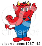 Clipart Devil Mascot Pointing Upwards Royalty Free Vector Illustration by Toons4Biz