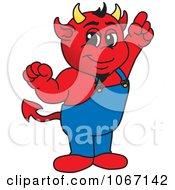 Devil Mascot Pointing Upwards