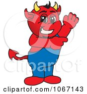 Devil Mascot Waving And Pointing