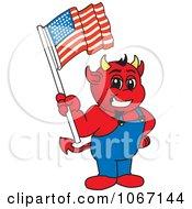 Devil Mascot Holding An American Flag