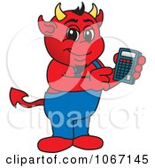Devil Mascot Using A Calculator