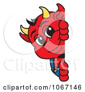 Devil Mascot Looking Around A Blank Sign