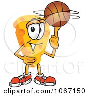 Clipart Cheese Mascot Playing Basketball Royalty Free Vector Illustration