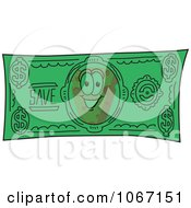 Clipart Cheese Mascot Dollar Bill Royalty Free Vector Illustration