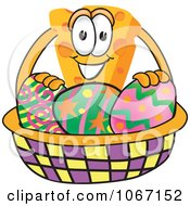 Clipart Cheese Mascot With An Easter Basket Royalty Free Vector Illustration