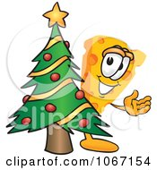 Clipart Cheese Mascot With A Christmas Tree Royalty Free Vector Illustration