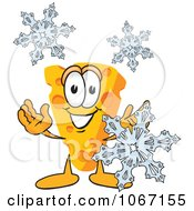 Clipart Cheese Mascot With Snowflakes Royalty Free Vector Illustration