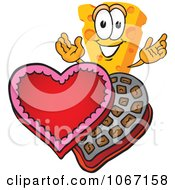 Clipart Cheese Mascot With Valentines Chocolate Royalty Free Vector Illustration