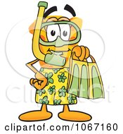 Clipart Cheese Mascot In Green Snorkel Gear Royalty Free Vector Illustration