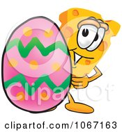 Clipart Cheese Mascot With An Easter Egg Royalty Free Vector Illustration