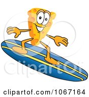 Clipart Cheese Mascot Surfing Royalty Free Vector Illustration by Toons4Biz