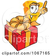 Clipart Cheese Mascot With A Christmas Gift Royalty Free Vector Illustration