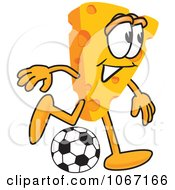Clipart Cheese Mascot Playing Soccer Royalty Free Vector Illustration
